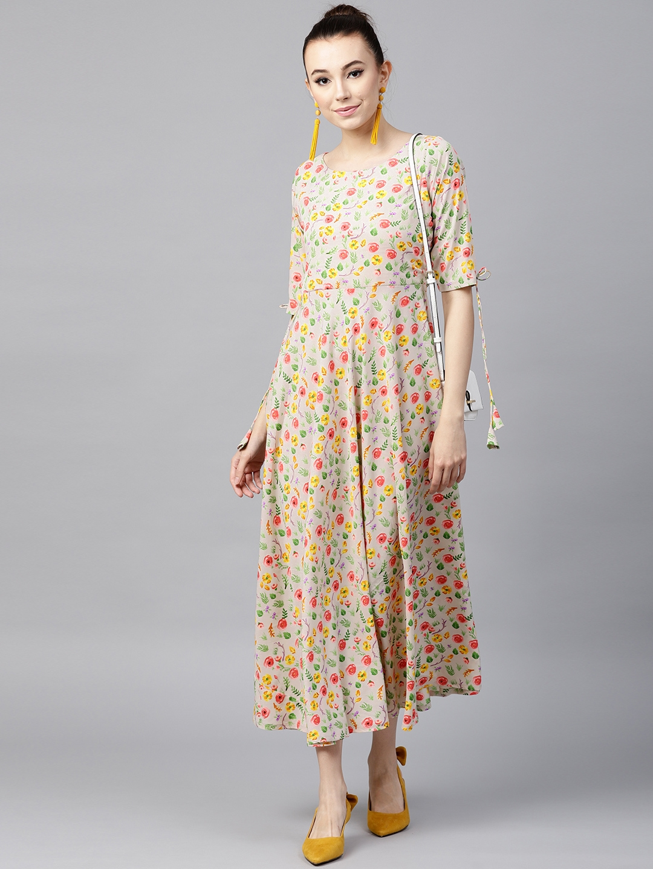 b2acbb237c7b Buy GERUA Women Cream Coloured Floral Print Maxi Dress - Dresses for ...
