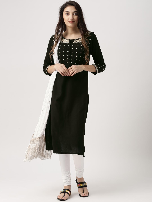 72a51e7a5f32e IMARA Women Black & White Embroidered Kurta with Churidar & Dupatta
