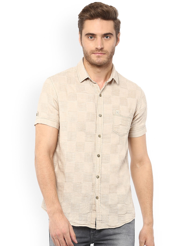 3136b9d8788 Buy Mufti Men Beige Slim Fit Self Design Casual Shirt - Shirts for ...