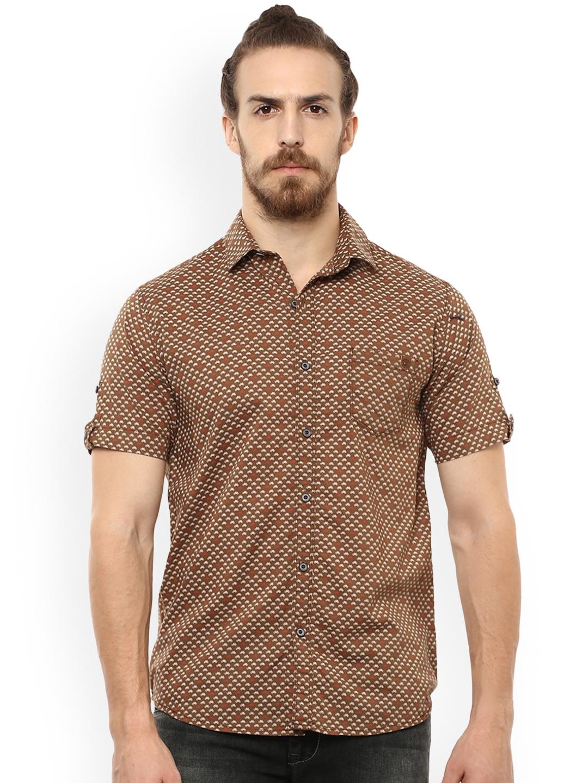 94953863 Buy Mufti Men Brown & Beige Slim Fit Printed Casual Shirt - Shirts ...