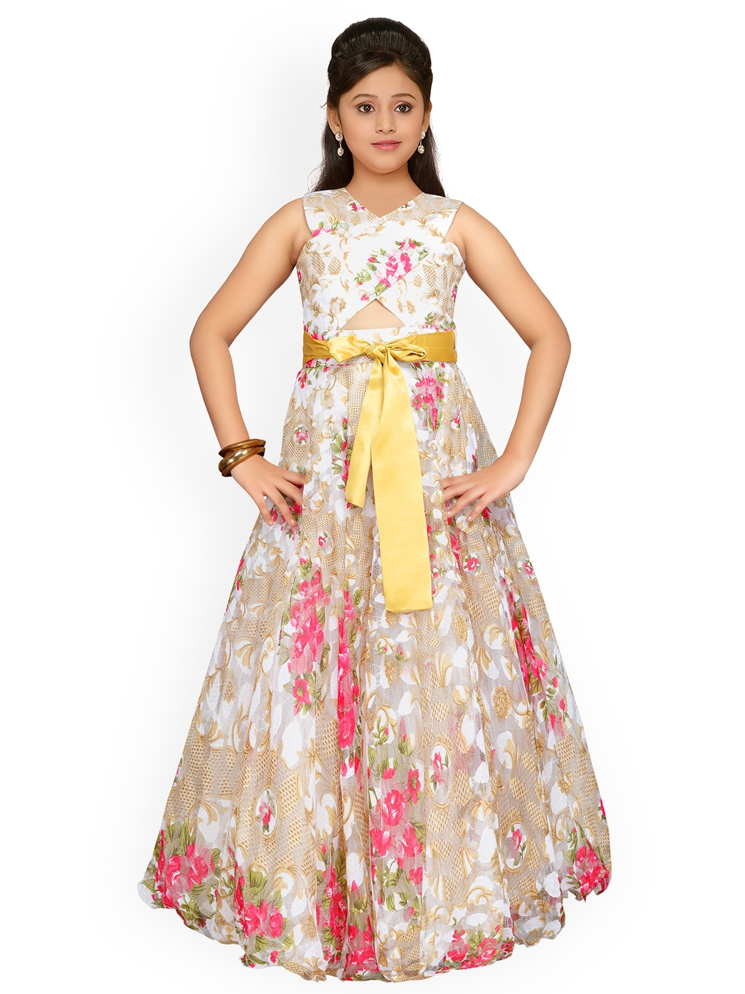 09805cb6a13 Buy ADIVA Girls Beige Printed Maxi Dress - Dresses for Girls 6936097 ...