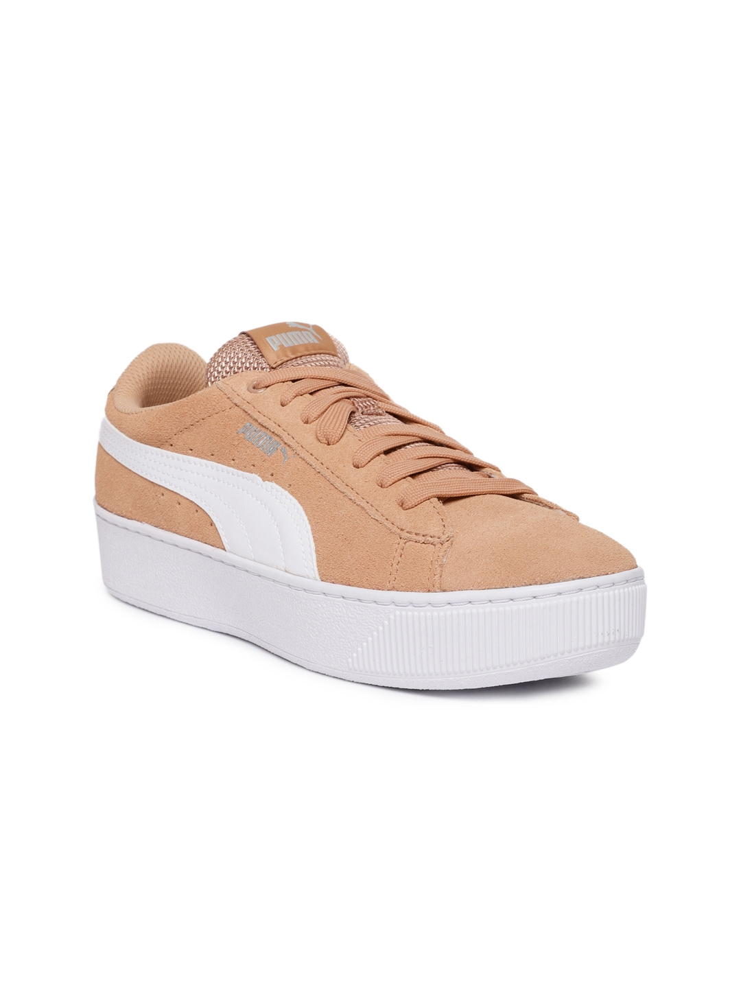 b1ac9f6c4462 Buy Puma Women Peach Coloured Vikky Platform Suede Sneakers - Casual ...
