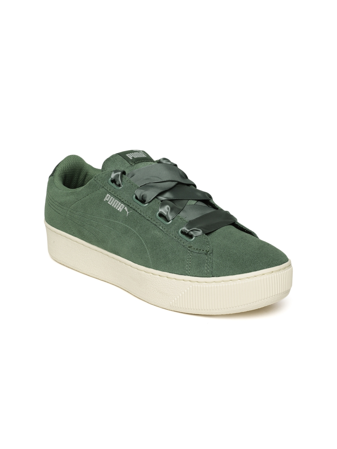 Buy Puma Women Olive Green Vikky Platform Ribbon S Suede Sneakers ... 31bff8b20