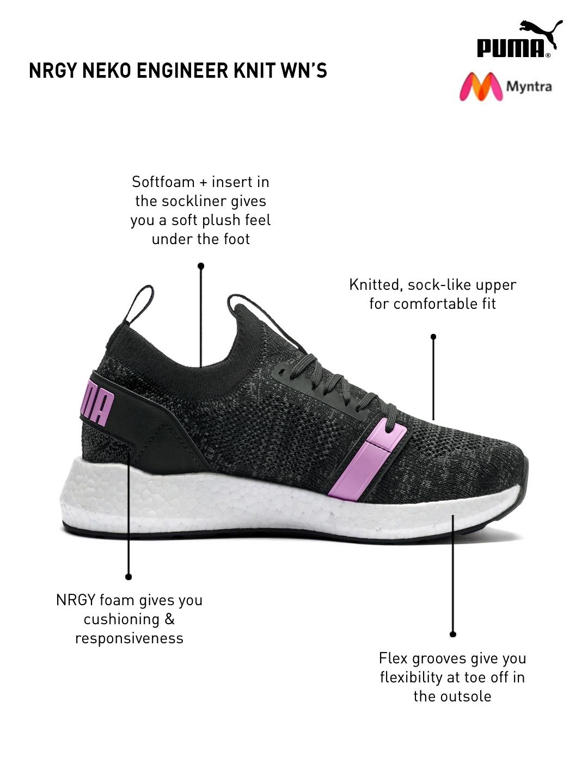 Buy PUMA Women Black NRGY Neko Engineer Knit Running Shoes - Sports ... 4a308e2c2