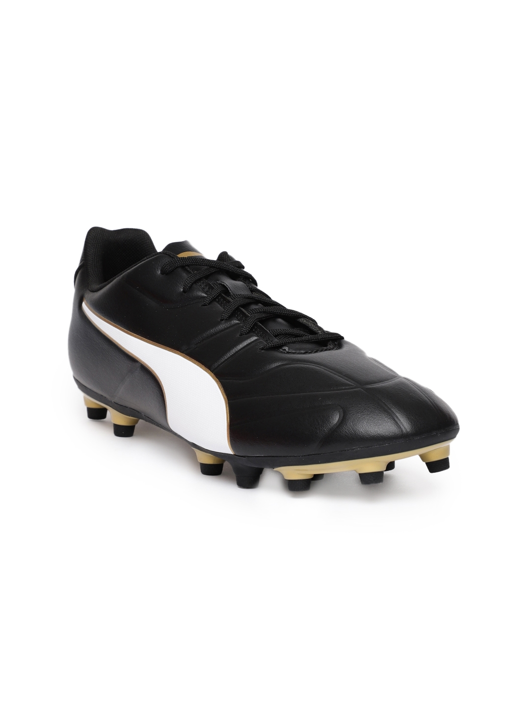 7d2cef395fb Buy Puma Men Black   Gold Toned Classico C II Firm Ground Football ...