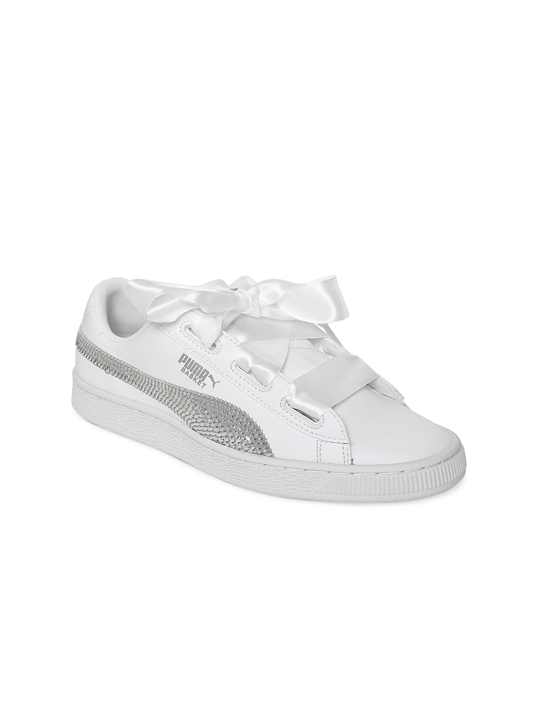 e5d1087a4556 Buy Puma Girls White Basket Heart Bling Casual Shoes - Casual Shoes ...