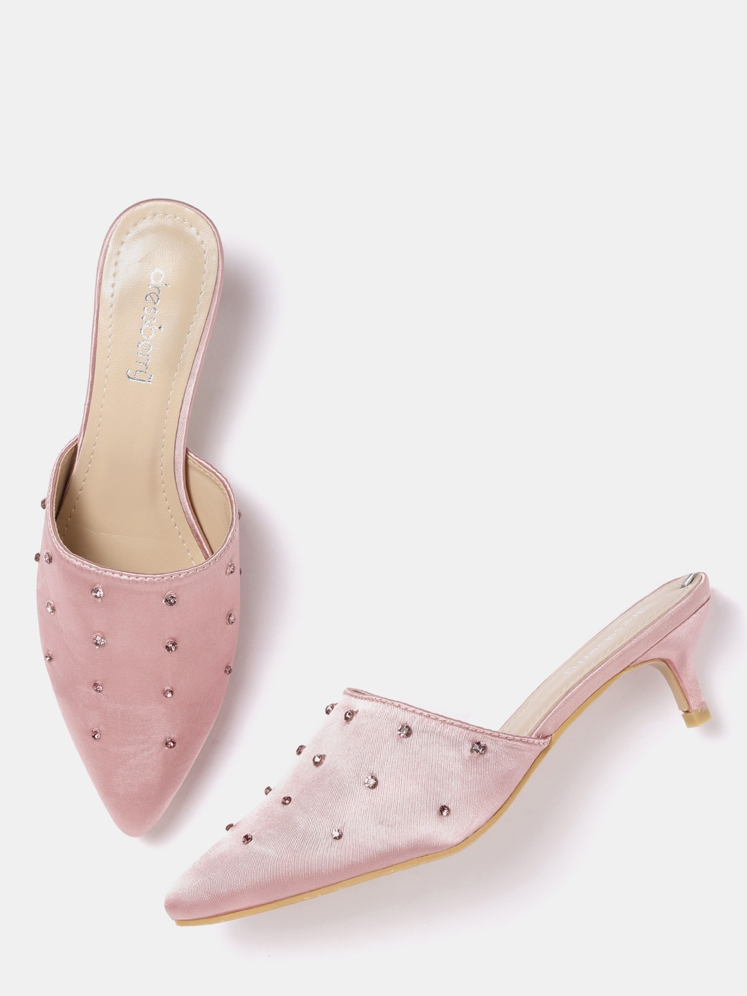 e6494285e78 Buy DressBerry Women Pink Stone Studded Heeled Mules - Heels for ...