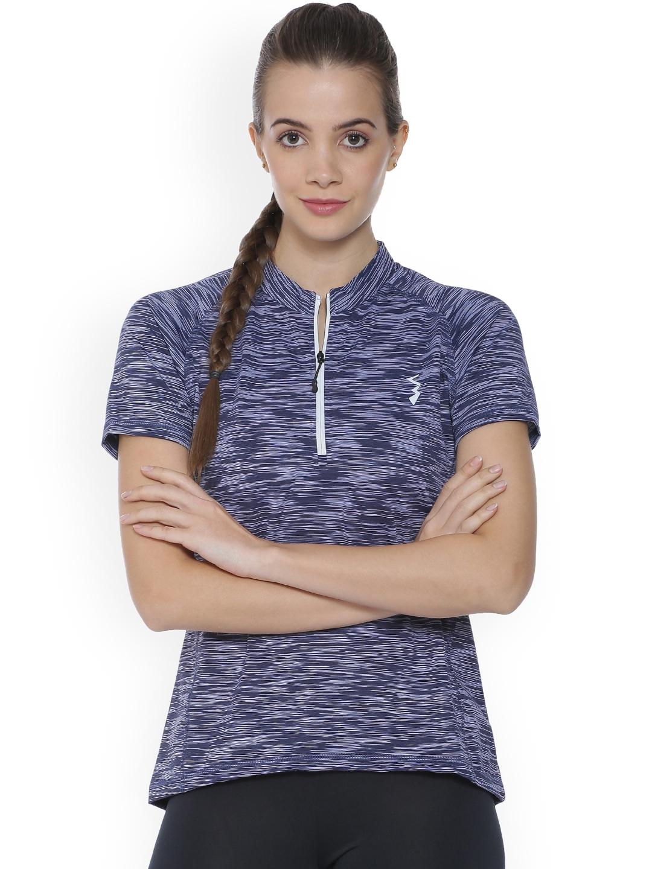 c9c5bcc4761 Buy Campus Sutra Women Purple Striped High Neck T Shirt - Tshirts ...
