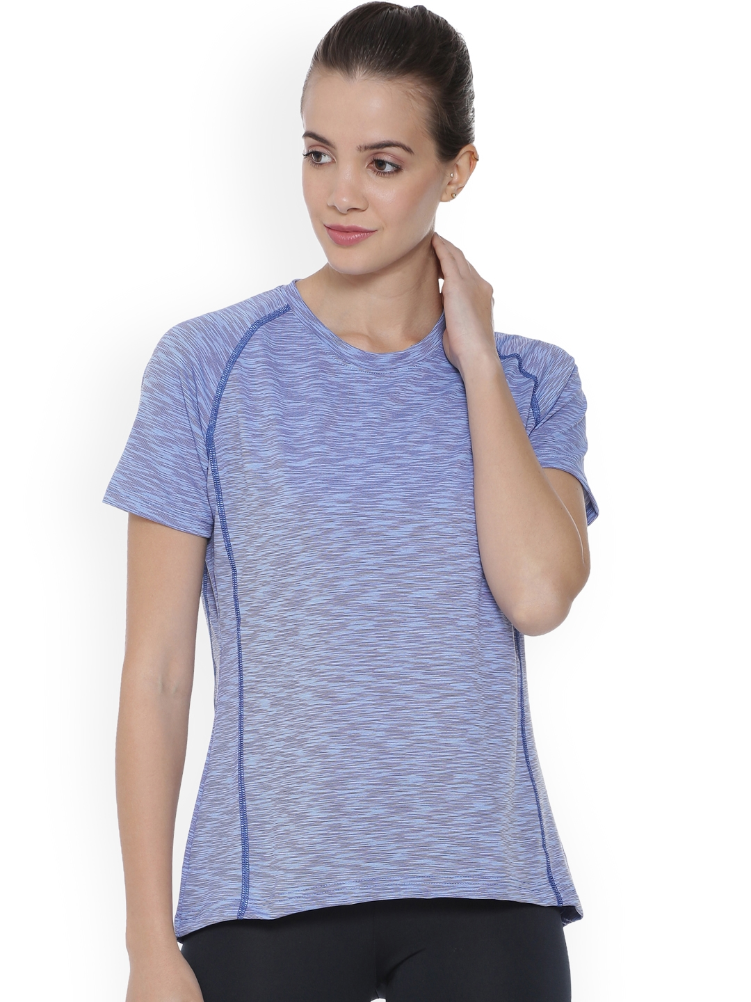 f6bca30e034 Buy Campus Sutra Women Blue Striped Round Neck T Shirt - Tshirts for ...
