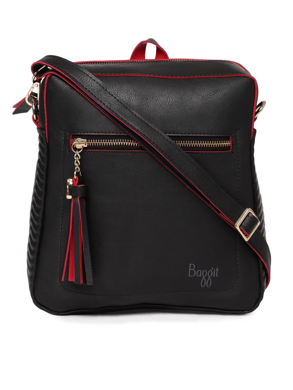 0068ba45160 Buy Baggit Black Solid Sling Bag Cum Backpack - Handbags for Women ...