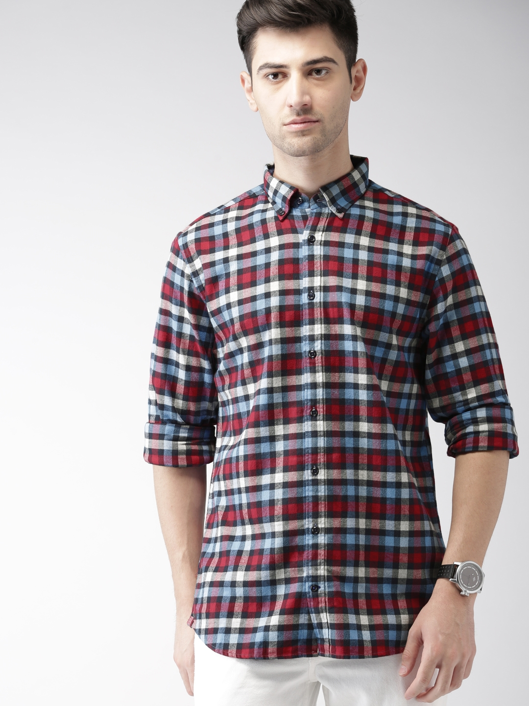 e7add6896 Buy Tommy Hilfiger Men Red & Blue Slim Fit Checked Casual Shirt ...