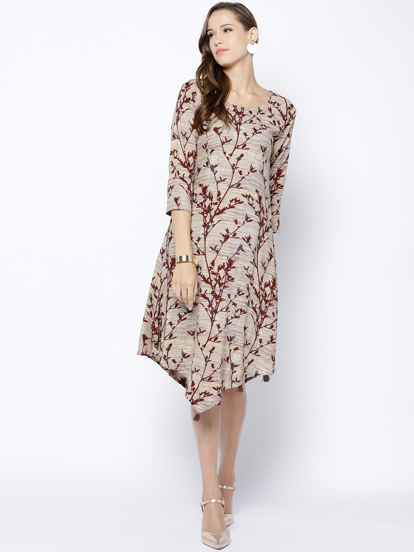 9ead2a2169d3 Buy Inddus Women Beige   Burgundy Printed Midi A Line Dress ...
