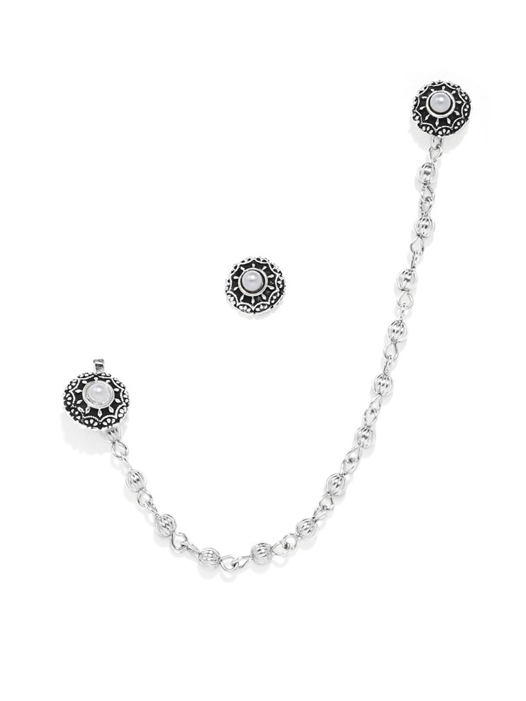 Buy Zaveri Pearls Silver Toned Nose Pin Chain With Earrings Nosepin For Women 6941203 Myntra