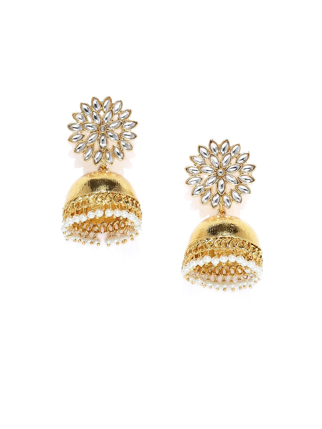 64227613e Buy Zaveri Pearls Gold Plated Dome Shaped Jhumkas - Earrings for ...