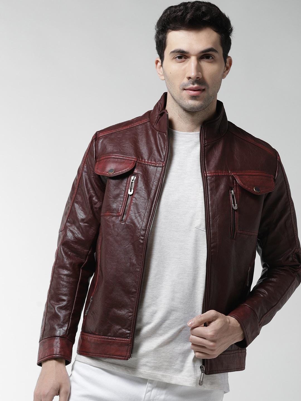 da79fedd Buy Fort Collins Men Burgundy Solid Faux Leather Biker Jacket ...