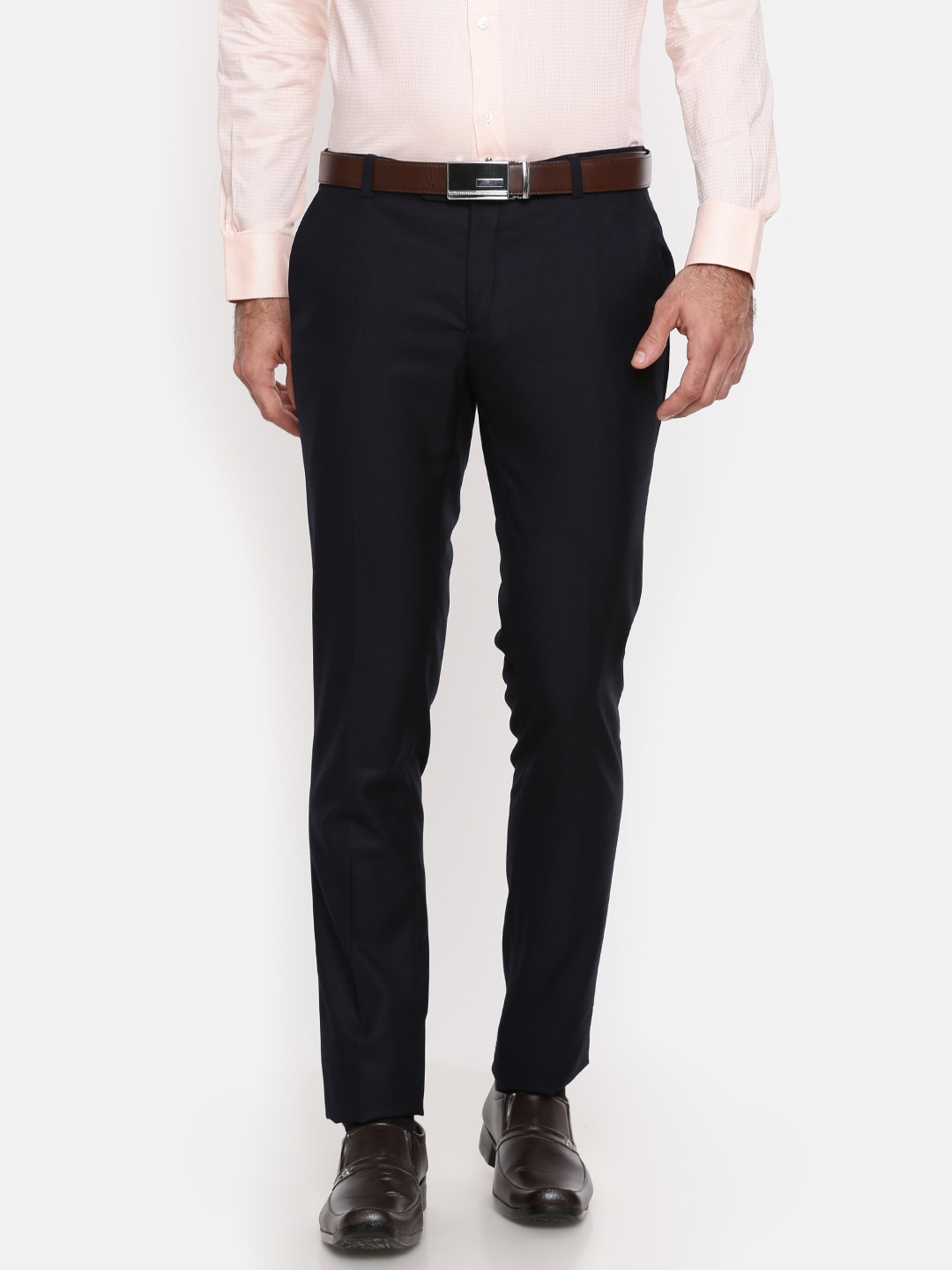 8c0fd465135 Buy Oxemberg Men Navy Blue Slim Fit Solid Formal Trousers - Trousers ...