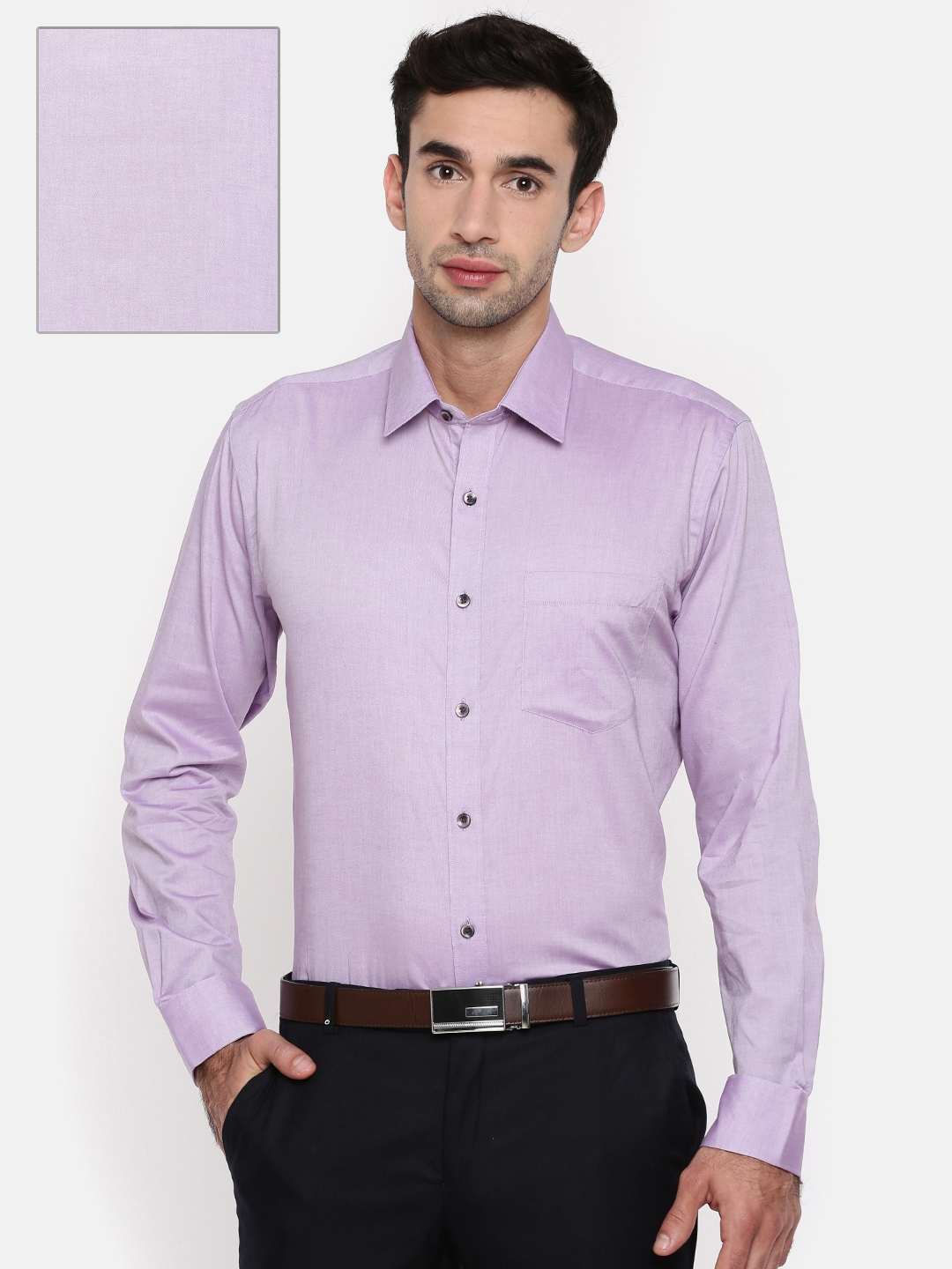 9185f2e0964 Buy Oxemberg Men Purple Slim Fit Solid Formal Shirt - Shirts for Men ...