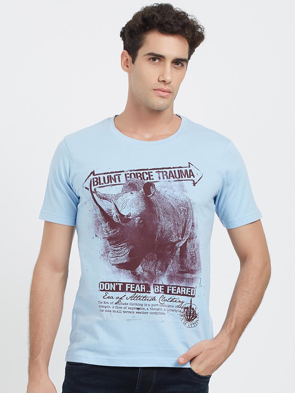 dc2f9f179 Buy ERA OF ATTITUDE Men Blue Printed Round Neck T Shirt - Tshirts ...