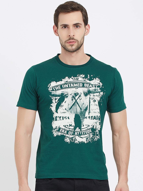 8a867b1c5 Buy ERA OF ATTITUDE Men Green Printed Round Neck T Shirt - Tshirts ...