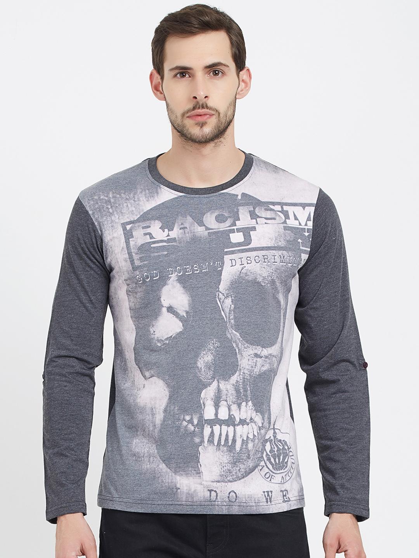 ef8dcb4bc Buy ERA OF ATTITUDE Men Grey Printed Round Neck T Shirt - Tshirts ...