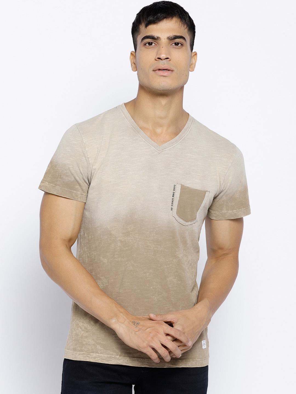 3f6bd3863d20 Buy Octave Men Khaki Dyed V Neck T Shirt - Tshirts for Men 6942161 ...