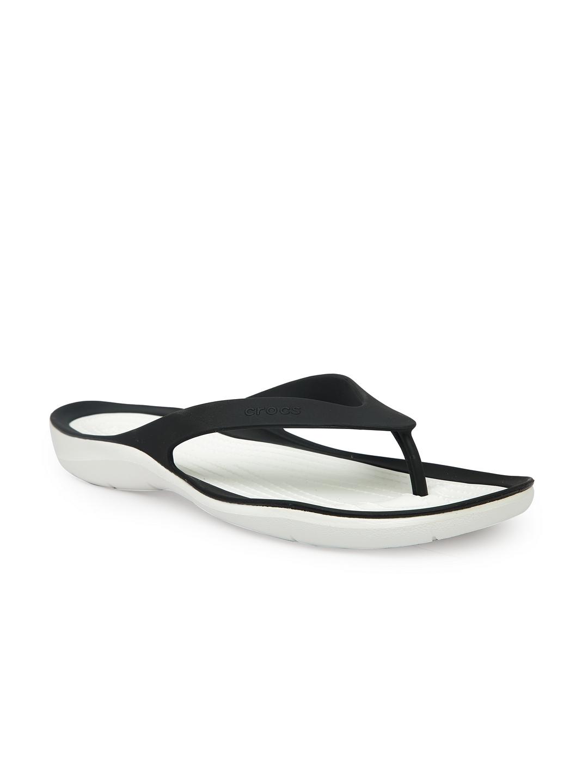 78ab8d482a69 Buy Crocs Women Black   White Solid Thong Flip Flops - Flip Flops ...