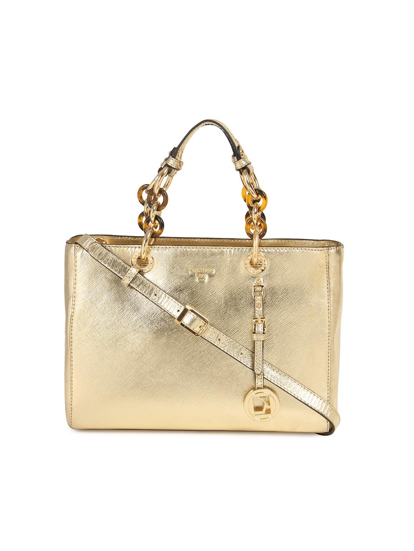 Buy Da Milano Gold Toned Textured Genuine Leather Handheld Bag Women Bags Image