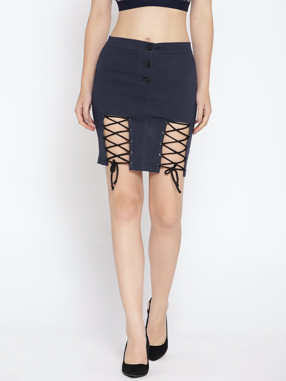 804bafad60 Buy Rider Republic Women Navy Blue Solid Mini Pencil Skirt - Skirts ...
