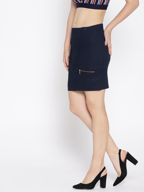 31318a7fad Buy Rider Republic Women Navy Blue Solid Denim Mini Pencil Skirt ...