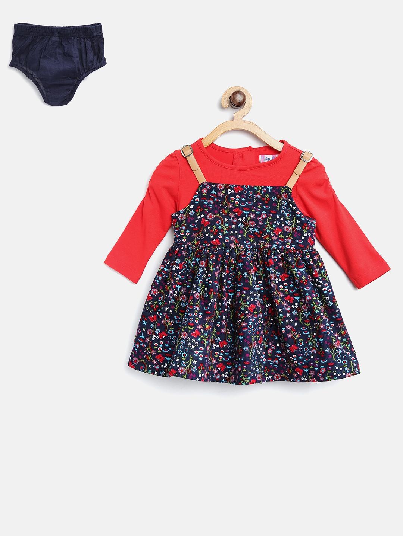 a71a57d90cf2 Buy Nauti Nati Girls Navy Floral Print Pinafore Dress - Dresses for ...