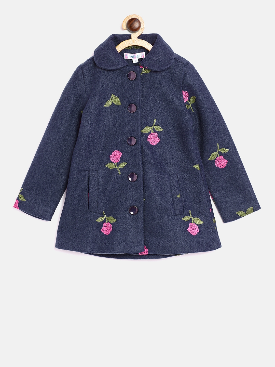 29db62f7b03f Buy Nauti Nati Girls Navy Blue Embroidered Pea Coat - Coats for ...
