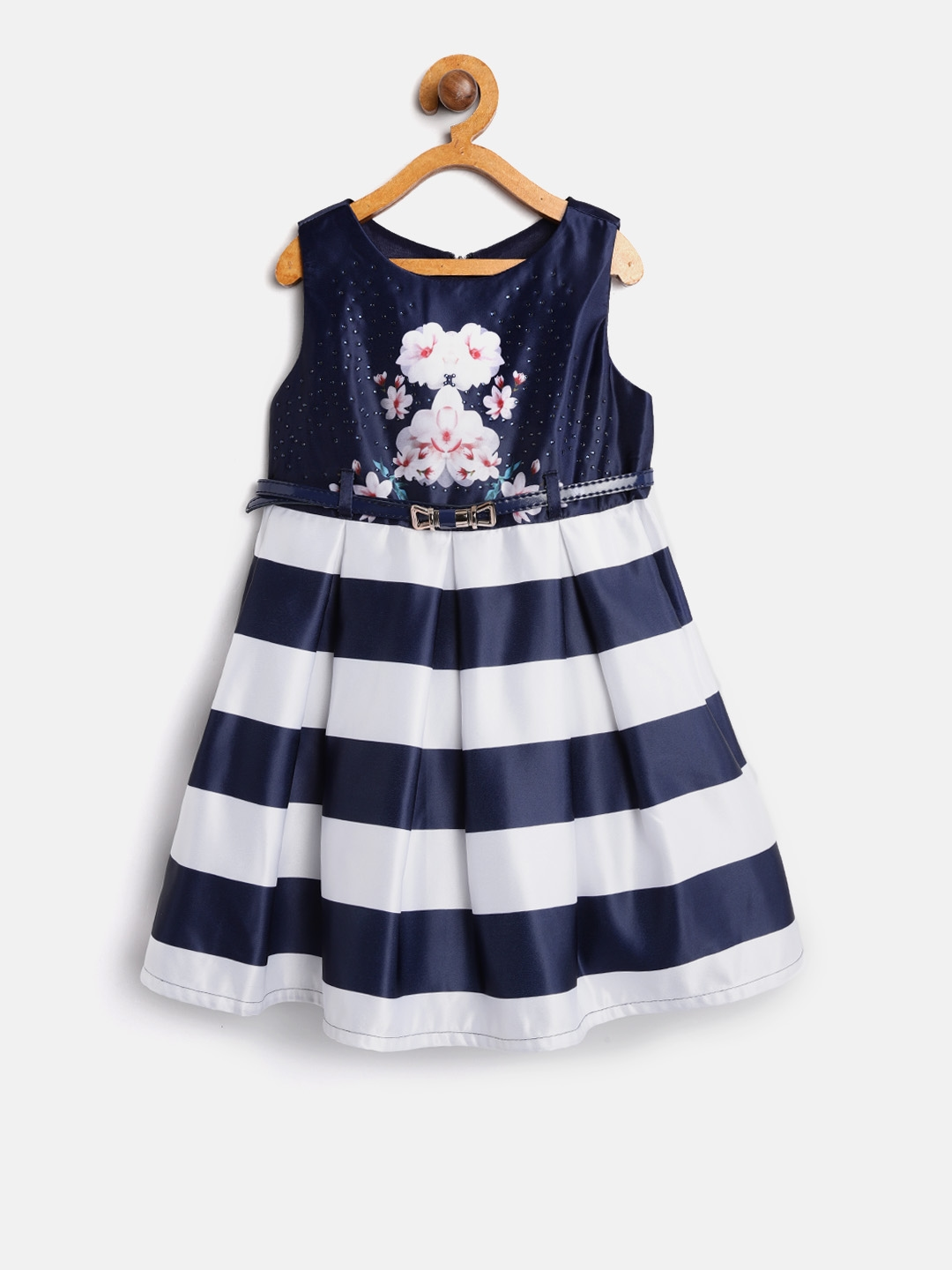 0eaf9108d Buy Nauti Nati Girls Navy Blue   Off White Striped Fit   Flare Dress ...