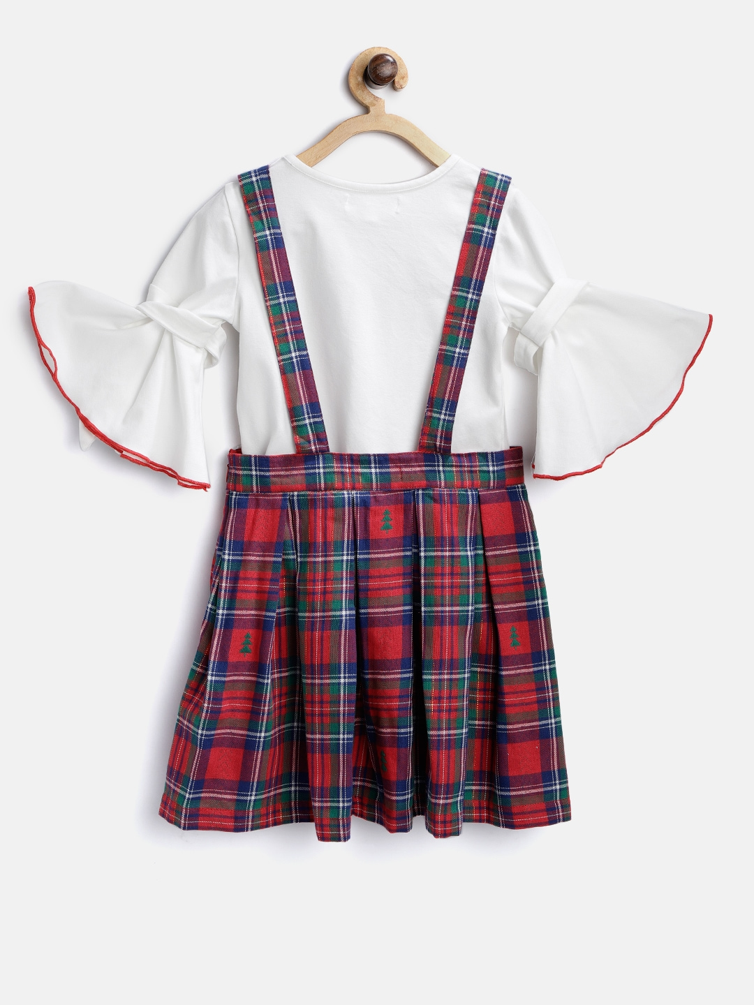 d1eab6f6427 Buy Nauti Nati Girls Red   Green Checked Pinafore Dress With Top ...
