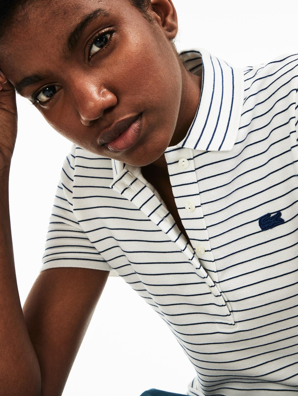 b6b320da Buy Lacoste Women White Slim Fit Striped Stretch Cotton Mini Pique ...