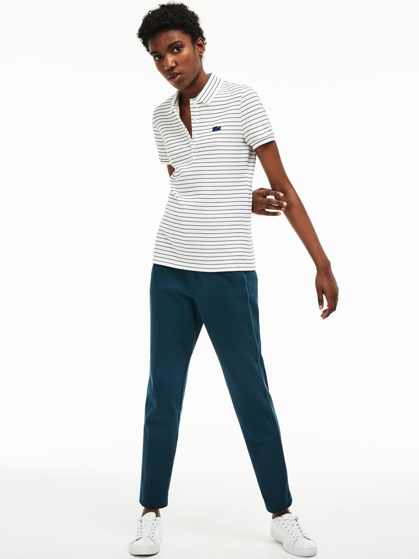 edb64cb09 Buy Lacoste Women White Slim Fit Striped Stretch Cotton Mini Pique ...