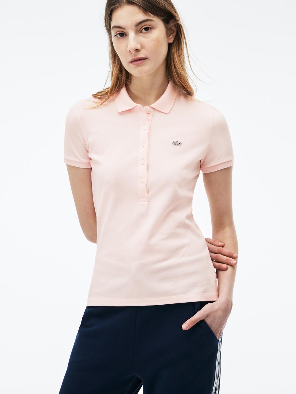 28bfcae33481f Lacoste Women Pink Slim Fit Stretch Mini Cotton Pique Polo