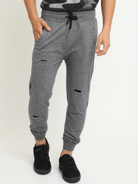 da62b095b2be8c Buy Soul Deep Skin Men Grey Ripped Joggers - Track Pants for Men ...