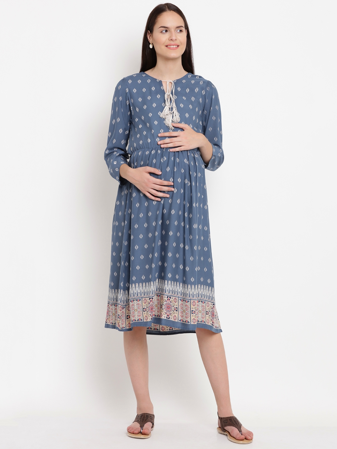 f0d5975392114 Buy Mine4Nine Women Navy Blue Printed Fit And Flare Maternity Dress ...