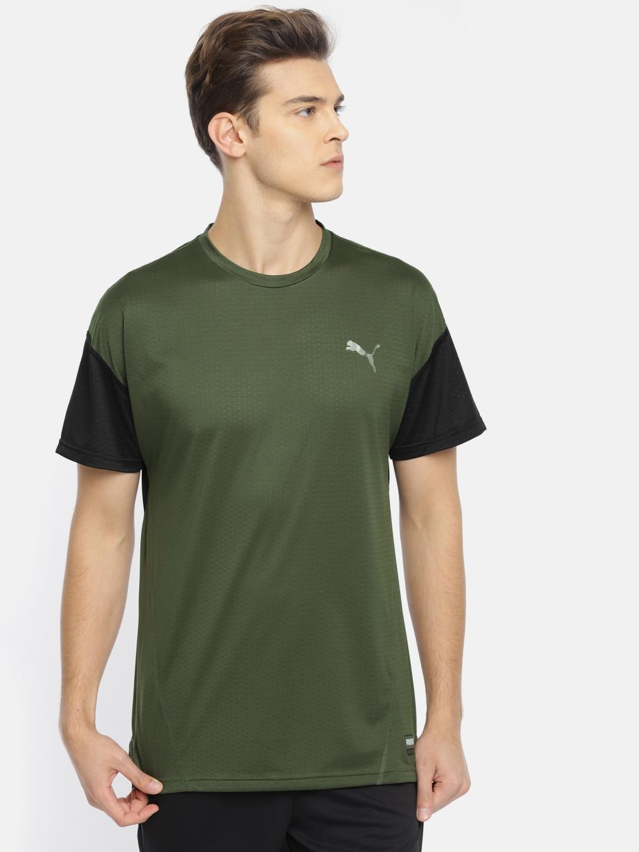 ca554385e1e Buy Puma Men Olive Green A.C.E. SS DRY CELL Solid Round Neck T Shirt ...
