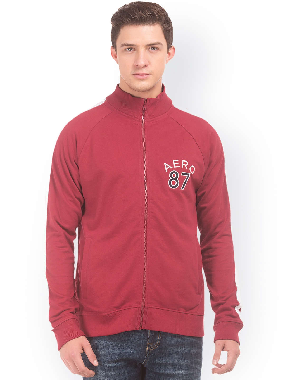 Aeropostale Men Red Solid Sweatshirt