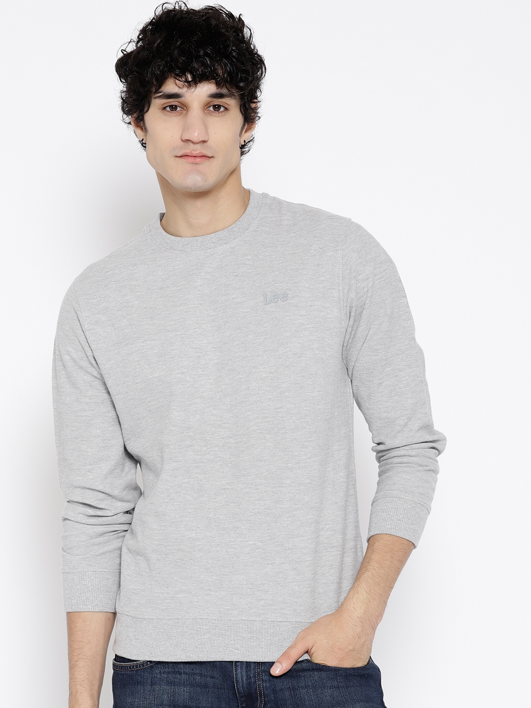 Lee Men Grey Melange Solid Sweatshirt