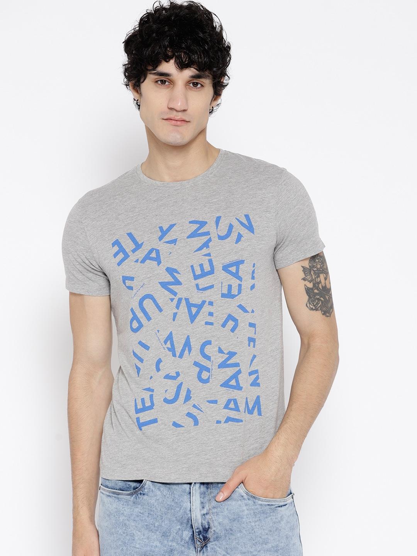 9c73e385 Buy Lee Men Grey Melange Printed Round Neck T Shirt - Tshirts for ...