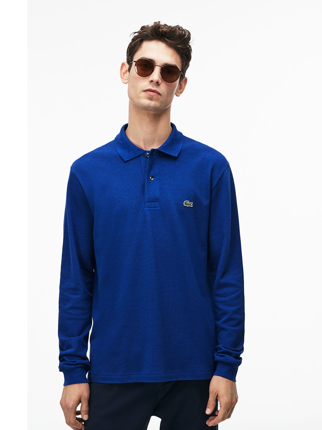 4f41a91e Lacoste Men Blue Solid Classic Fit Long-Sleeve Polo In Marl Petite Pique