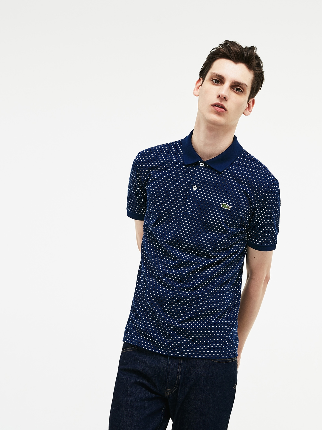 6ea25632 Buy Lacoste Men Navy Blue Slim Fit Print Mini Pique Polo - Tshirts ...