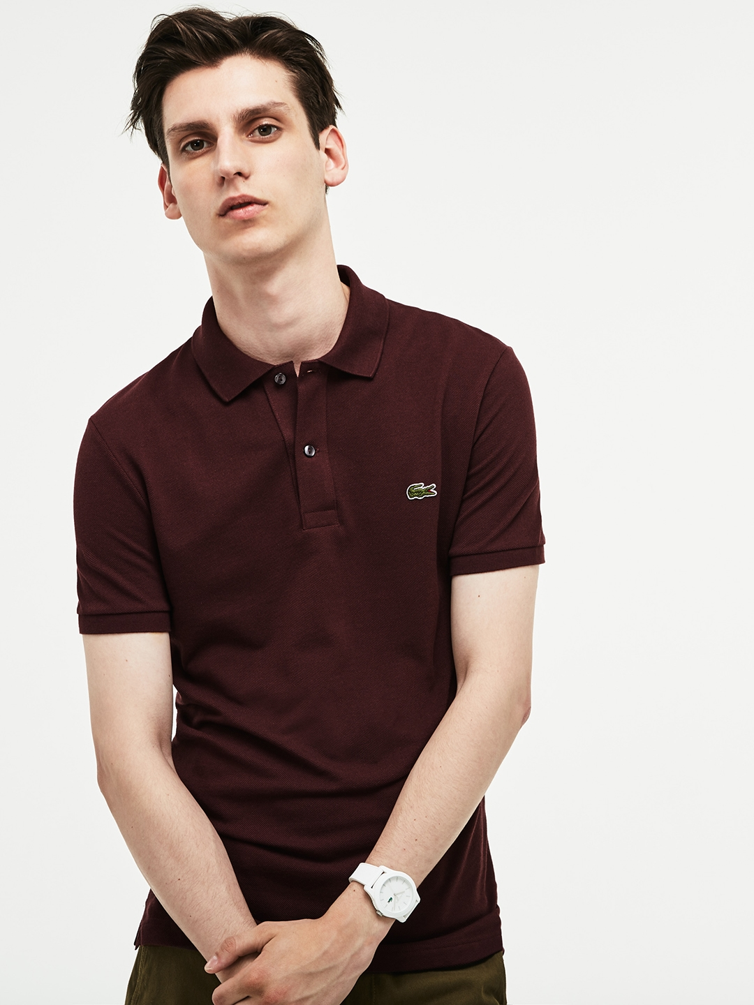 88c96b2ac Buy Lacoste Men Maroon Slim Fit Polo In Petit Pique - Tshirts for ...