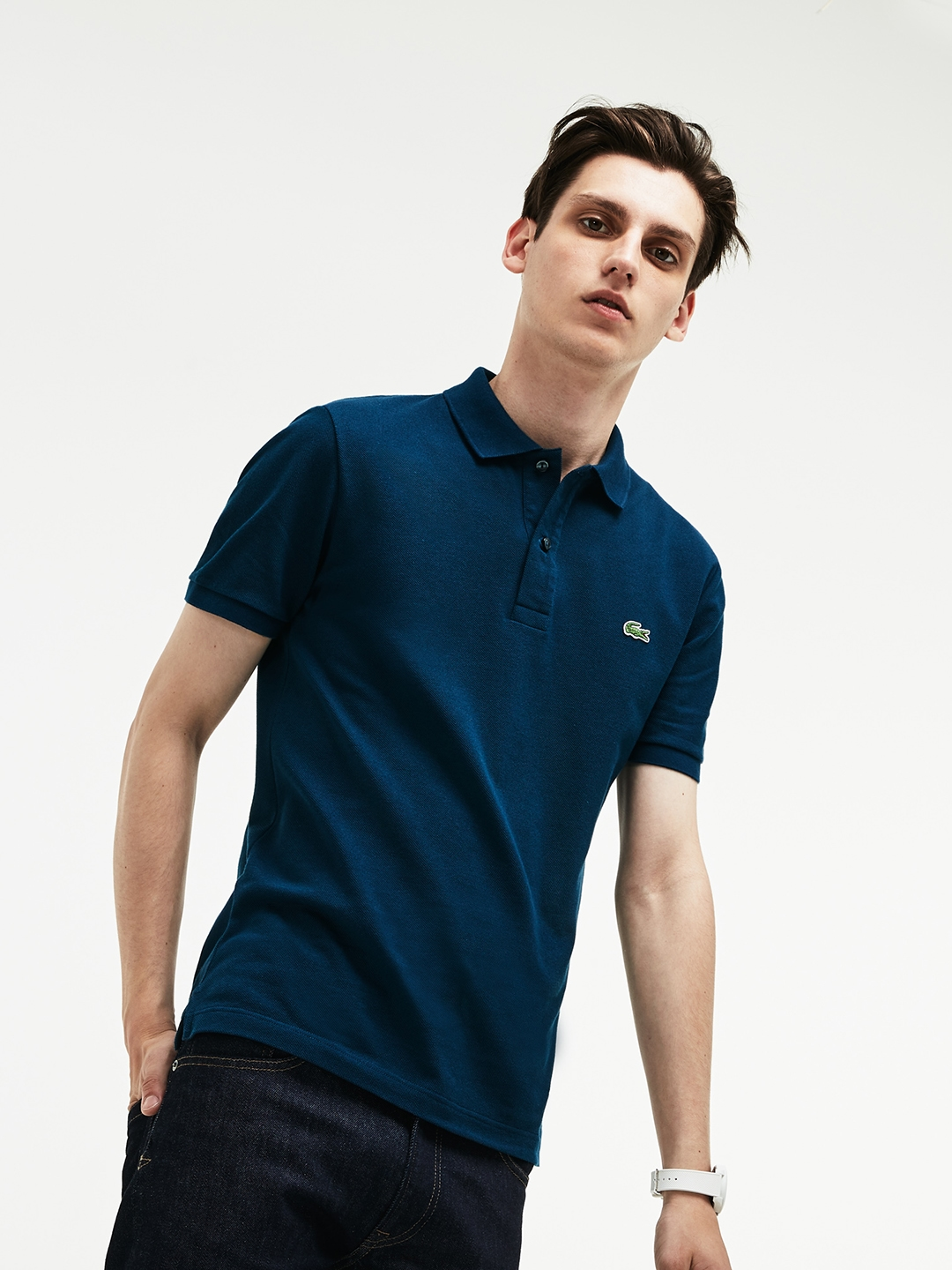 b523e06b Buy Lacoste Men Teal Solid Polo Collar T Shirt - Tshirts for Men ...