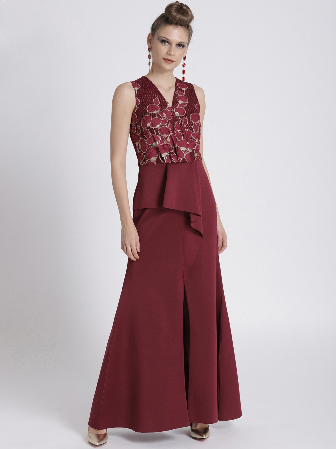 e5828d5ca1f Athena Burgundy Embellished Half Peplum Maxi Dress with Front Slit   Sheer  Back