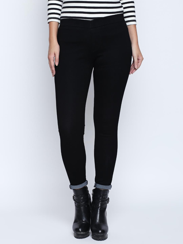fb9b38bb57d08 Buy High Star Women Black Slim Fit Jeggings - Jeggings for Women ...