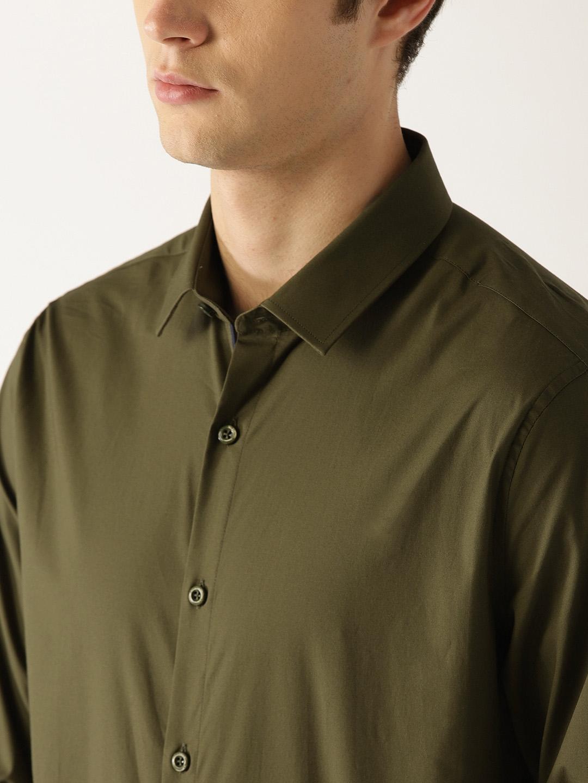 Buy United Colors Of Benetton Men Olive Green Regular Fit Solid
