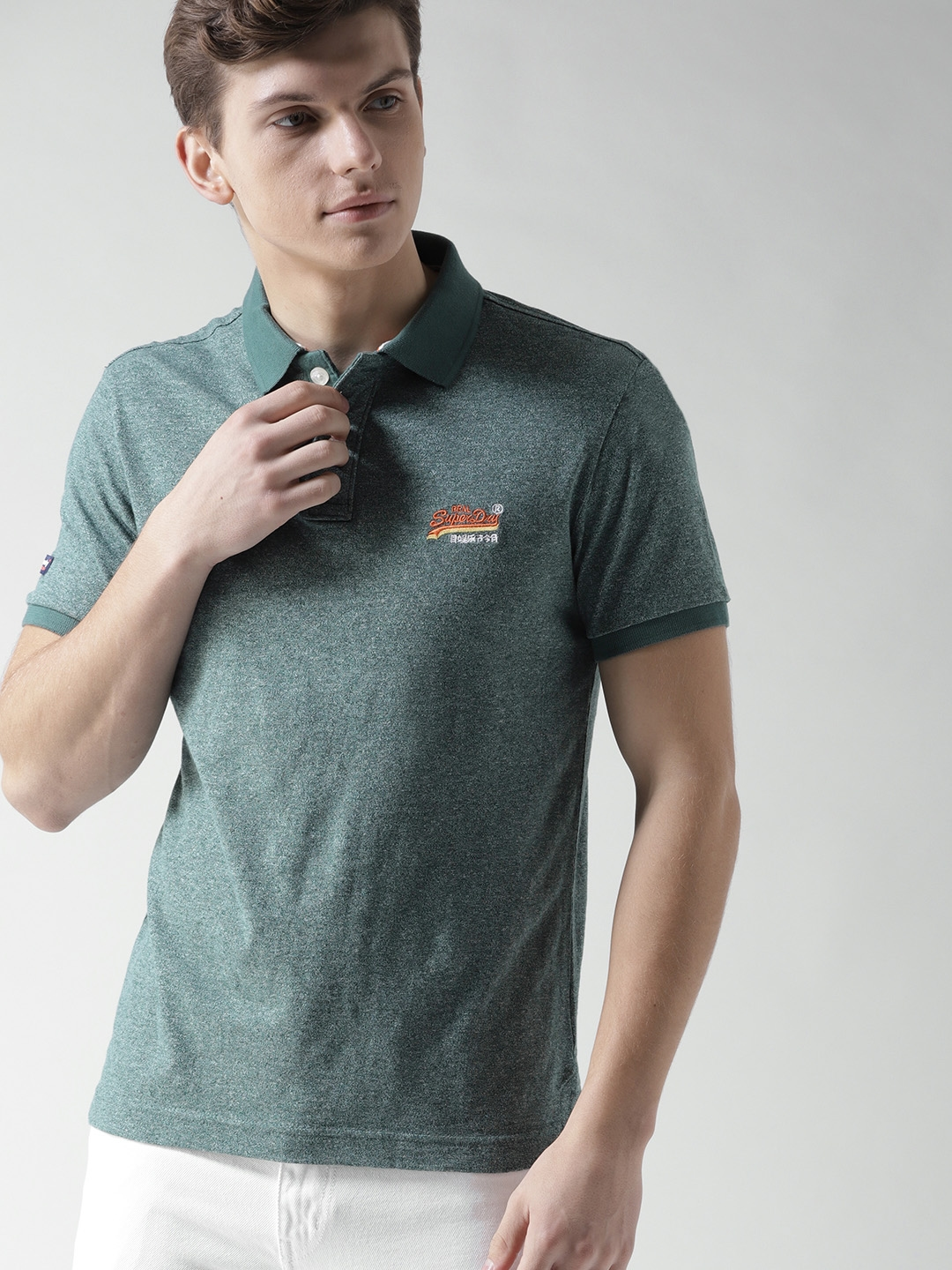 fde03c25 Buy Superdry Men Green Solid Polo Collar T Shirt - Tshirts for Men ...